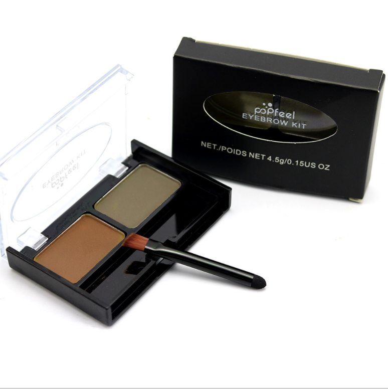 Your Brand 2 Color Global Cosmetics Makeup Waterproof Powder Eyebrow with Brush