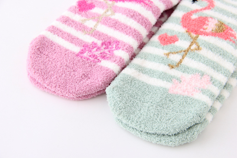 Wholesale Hot Selling High Quality Coral Fleece Flamingo Stripe Winter Warm Christmas Socks