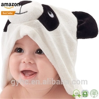 2017 hot sale soft high absorbent panda organic bamboo hooded baby bath towel