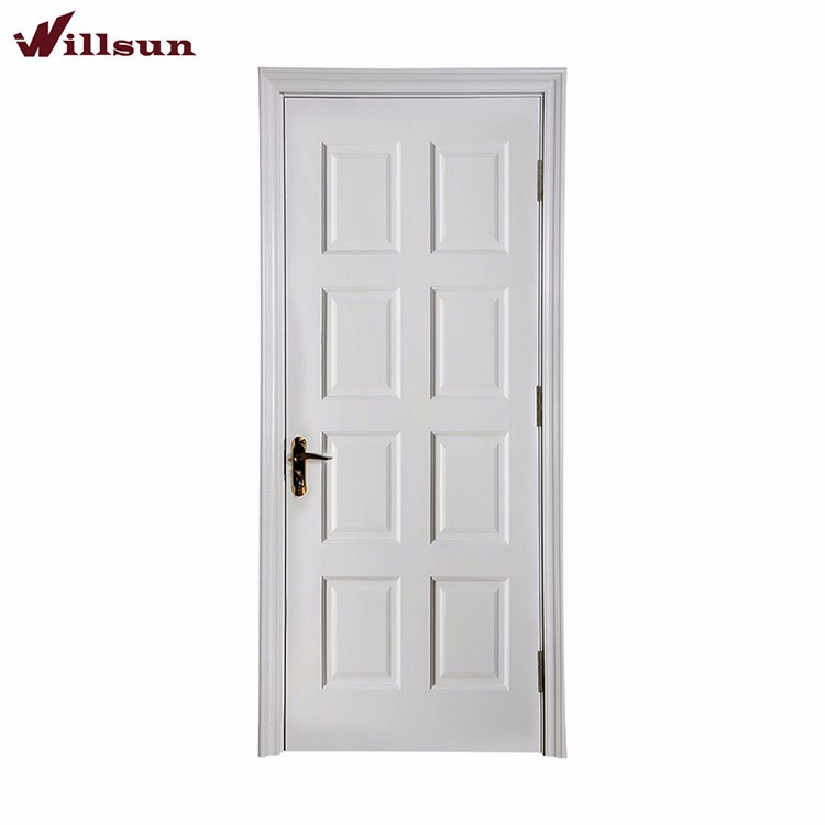 Environment Friendly Interior 8 Panel Wooden Door White Painting