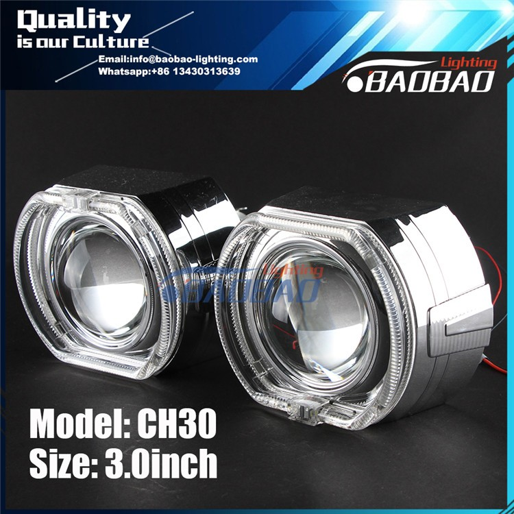 CH30 3.0inch bixenon hid projector lens with LED light guide double angel eye -BAOBAO LIGHTING