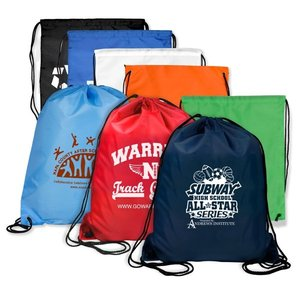 Custom Cheap Polyester Gym Sack Backpack Sport Bag School Travel drawstring bag