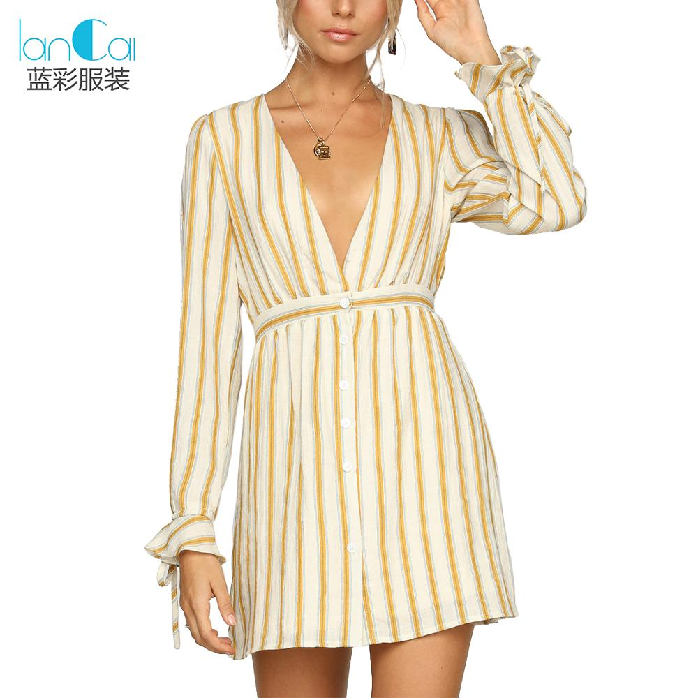 2018 fashion clothing striped shirt <strong>dresses</strong> for women