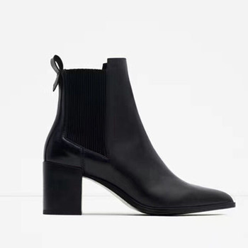 342cb8eb97d plain chelsea booties elastic band mid thick heel women leather pointed toe  ankle boots