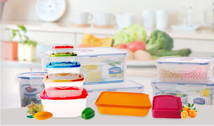 Bpa free tái sử dụng cấp thực phẩm nhựa kín lưu trữ container với khóa nắp 3 Ngăn Nhựa Container Lưu Trữ Thực Phẩm