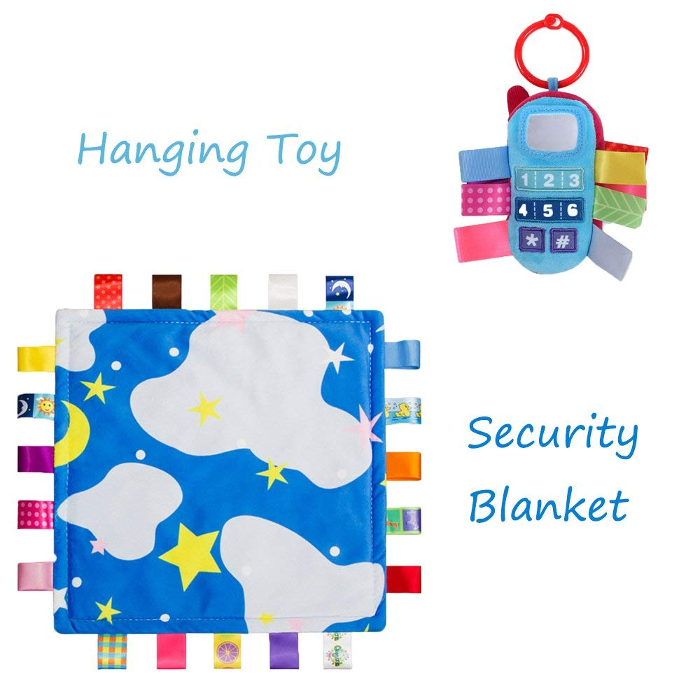 INCHANT Baby Toy Gift Set - Soft Taggie Comforter/Security Blanket and Stroller Plush Rattle Toy, Blue