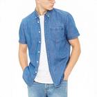 Hot selling low cost shirts button up short sleeves denim shirts for men