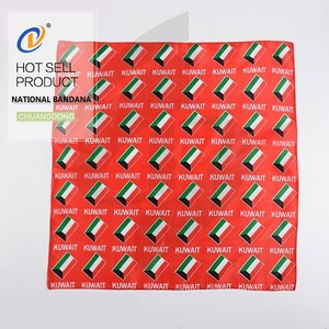 Wholesale national flag country polyest satin wholesale red color printing cotton bandana
