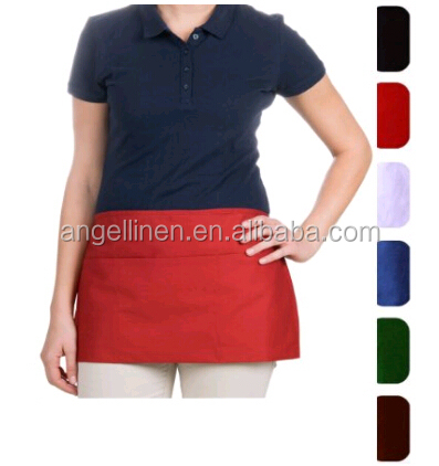 promotion poly cotton waist apron /waiter apron with customized logo printing