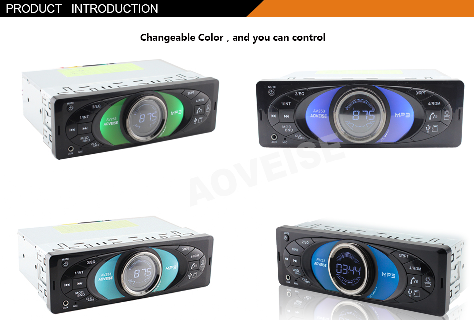 Aoveise Av253 Professional Car Mp3 Player With Tuning Light 1 Din ...