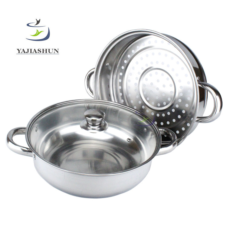 Double Layers Stainless Steel Steam Cooking Pot And Stock Pot With Glass Lid