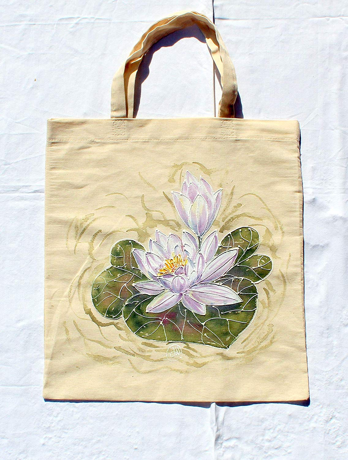 Sale!!! 15% OFF,Hand Painted Water Lily Cotton Bag,Acrylic Painted White Water Lily,From Weekend beach bag to Everyday Grocery Shopper,Floral Flowers Water Lily,Water Lily Canvas Tote