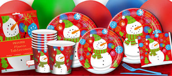 christmas party supplies white red snowman tableware disposable paper plates cups napkins serviette and plastic table