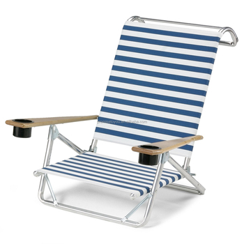 Beach Chair 5 Position With Cup Holder Insulated Cooler Carry Case