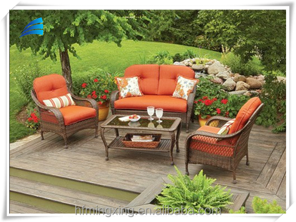 New trend outdoor modern orange 2 seater sofa couch furniture set