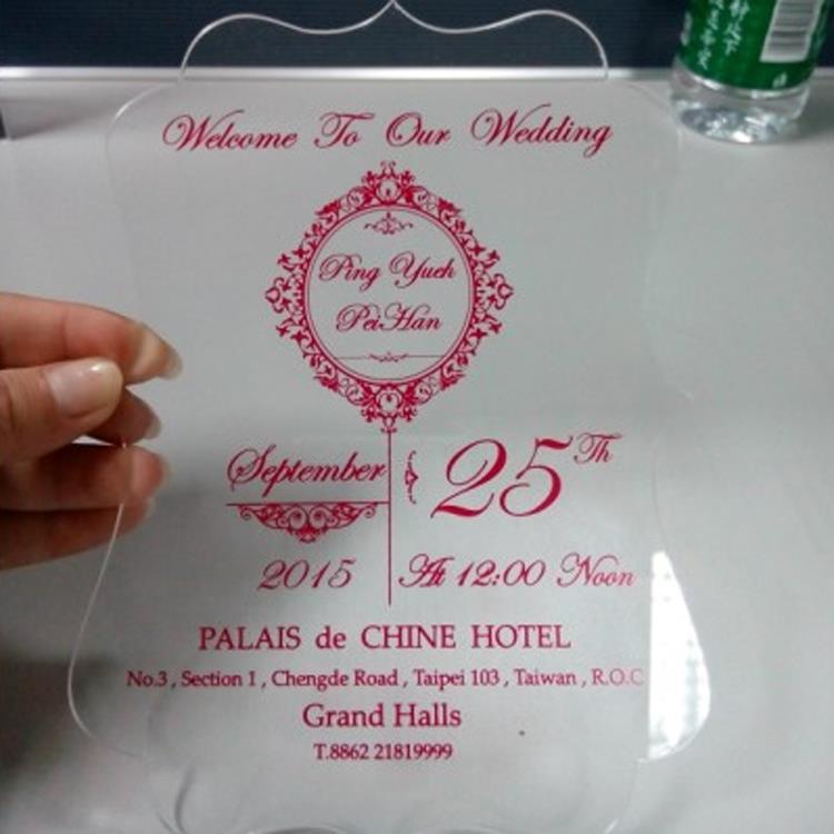 Plastic Acrylic Wedding Invitation Made In China