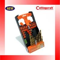 50PCS Twist drill bits Screwdriver bits Screwdriver magnetic bit holder Gradienter set