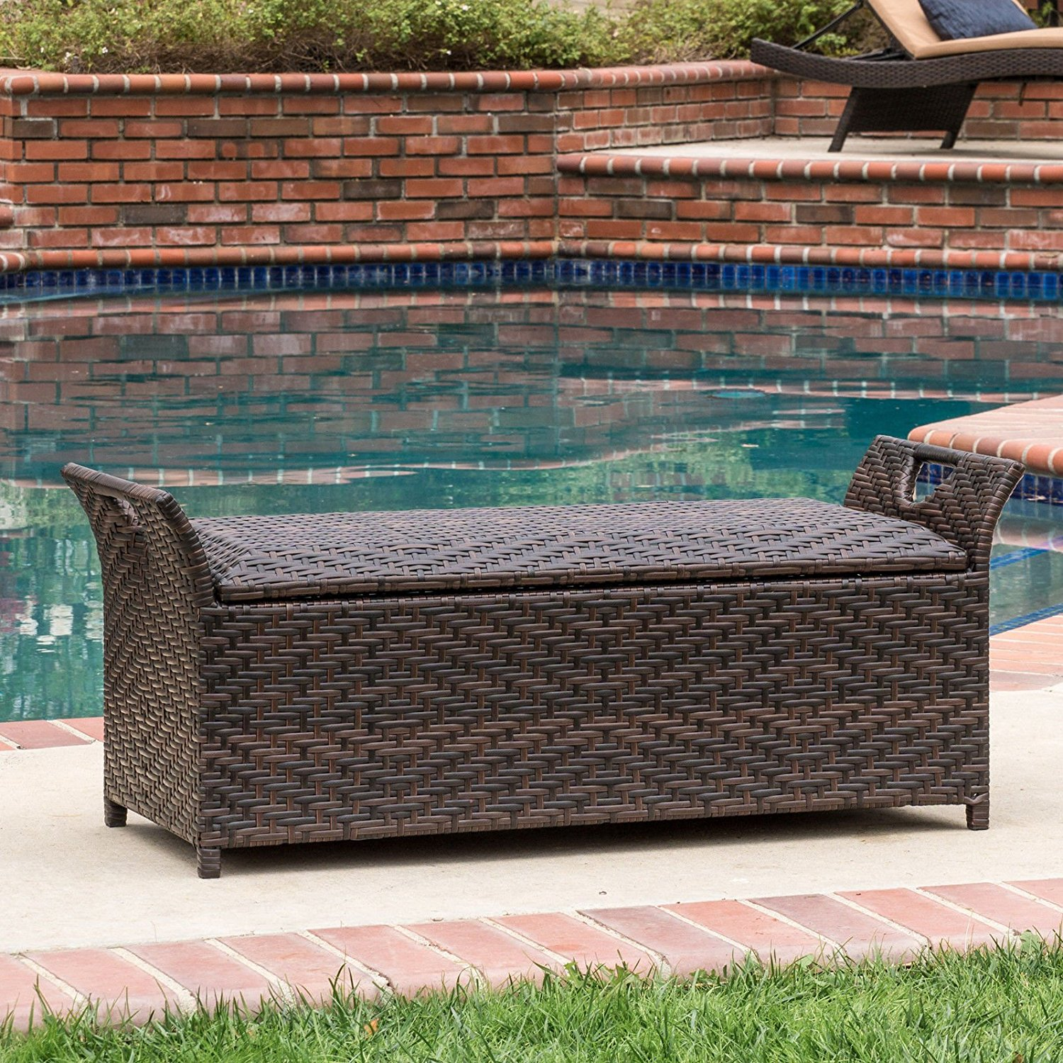 Get quotations · multi tone brown wicker fully assembled outdoor backless storage patio bench ottoman