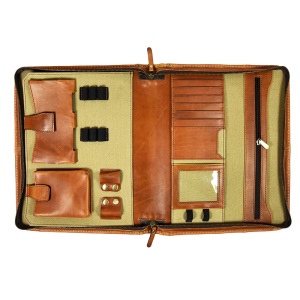 Business gift leather conference holder portfolio organizer leather A4 folder