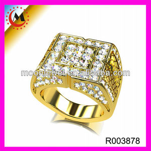 Yiwu Factory Direct Yellow Gold Mens Ring Jewely Fashion