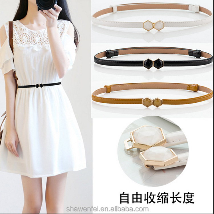 Wholesale Shiny PU Leather belt With Special Design Gold Bow Buckle For Women Skirt