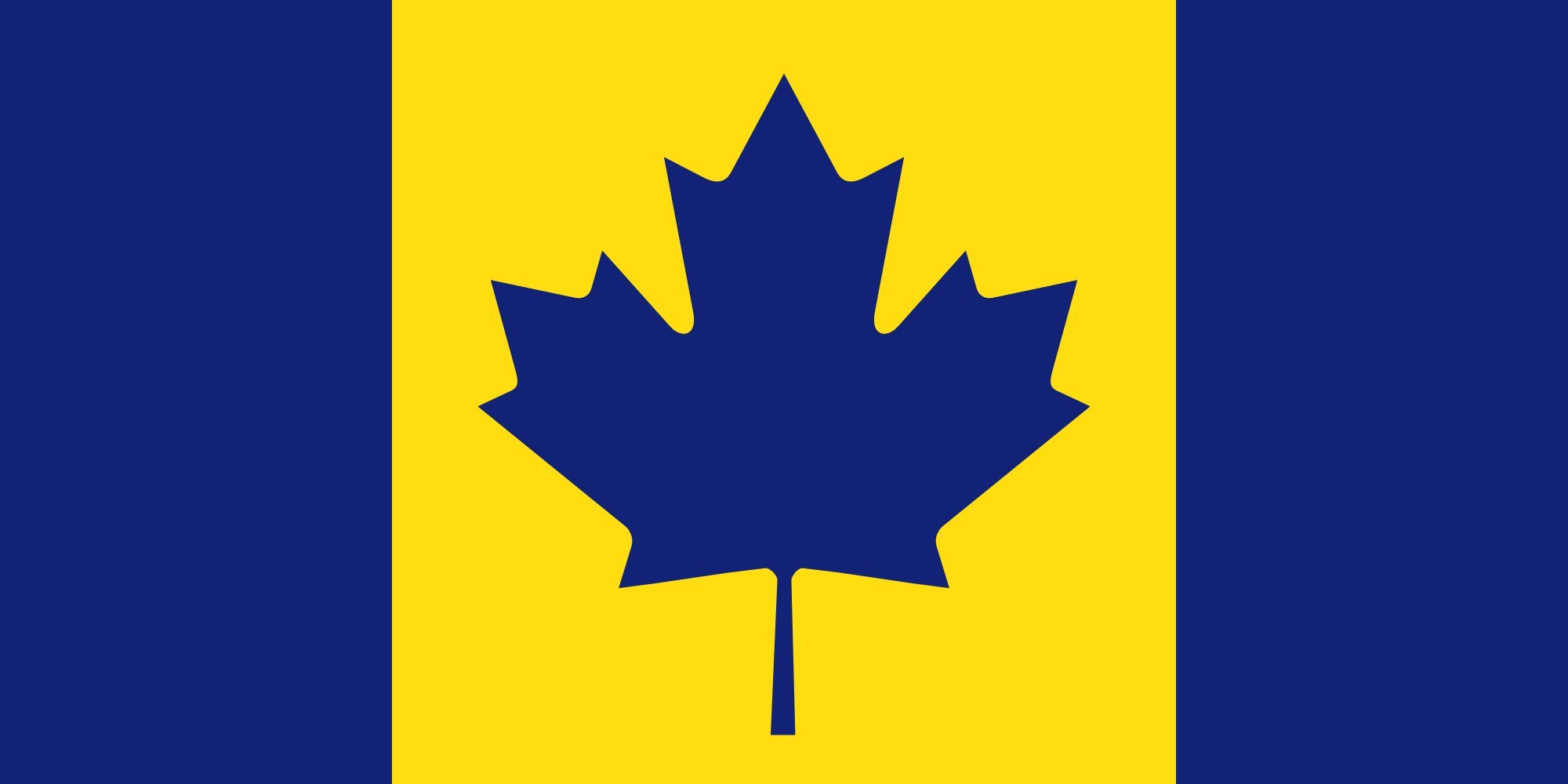 Table-Flag / Desk-Flag: Canada recolour | The maize and blue Michigan Wolverines colored Flag of Canada used to cheer on Stauskas 15x25cm