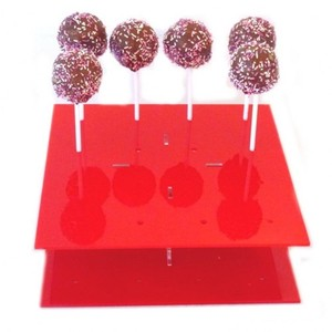 Square Solid Red Acrylic Cake Pop Stand Plexi Lollipop Stand Perspex Lolly Stand