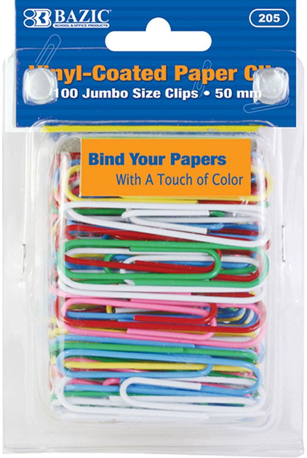 DDI - BAZIC Large (50mm) Color Paper Clips (100/Pack) Case Pack 72