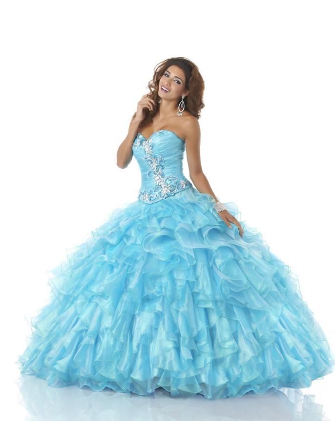 02590d2b5 Get Quotations · Pale Blue Quinceanera Dresses Ball Gown Debutante Gown  Beading Vestido De 15 Anos Embroidery Organza Puffy