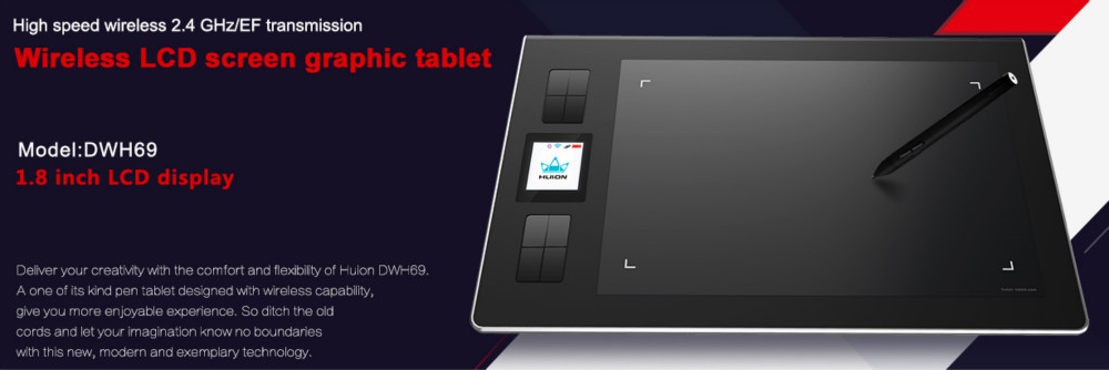New Productl Huion Dwh69 Portable Digital Wireless Graphic Tablet
