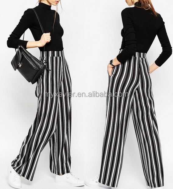 Innovative Jersey Wide Leg Pants in Vertical Stripe for women pants in cheap prices