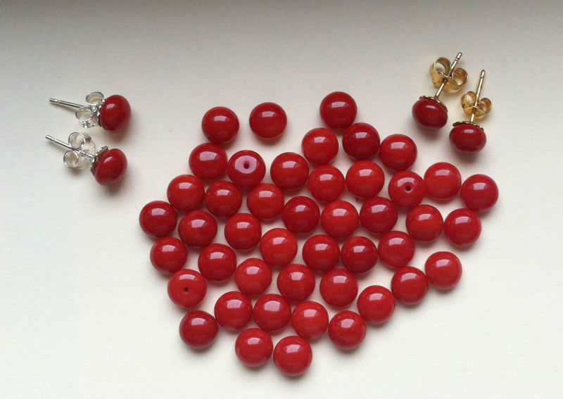 Natural Red Coral Buttons
