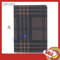 Hot product Grid stripe PU fashion leather case for ipad, with card slot PU case for ipad Air 2 cover