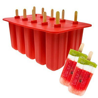 FDA Approved Durable Cheap Wholesale 10 cavity Silicone Ice Cream Popsicle Mold