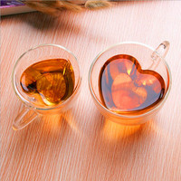 WeVi Transparent heart-shaped Double Wall Mug Glass,Drinking Reusable Coffee Glass Cups