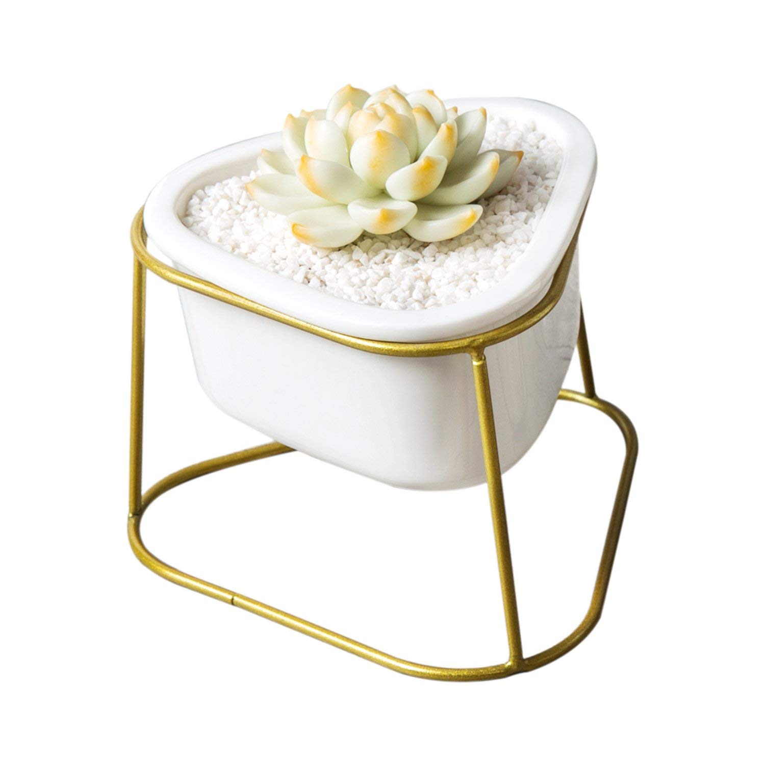 CUUCOR Small Modern White Ceramic Succulent Planter Pot with Metal Stand,Indoor Plant Holder for Succulent Plants/Mini Cactus/Artificial Flowers/Air Plant (White + Gold)