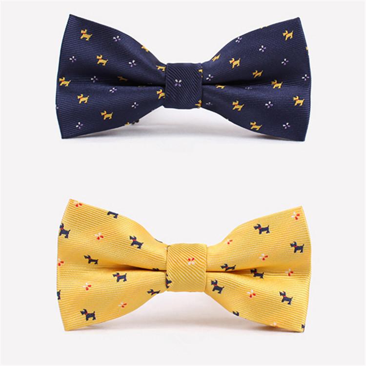 Комикс галстук-бабочка для мужчины прекрасный собака узор свадьба ну вечеринку желтый синий галстук-бабочка галстук