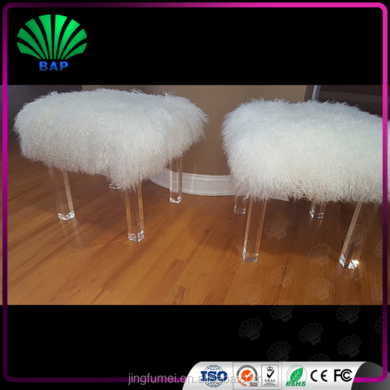 stackable Clear acrylic legs fur stools cover white wool children stool