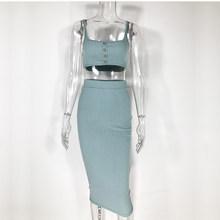 Женское облегающее платье NewAsia, трикотажное длинное платье в полоску в рубчик, комплект из двух предметов, повседневная одежда, комплекты дл...(Китай)