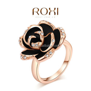 Rose Gold Engagement Black Rose Rings for Women