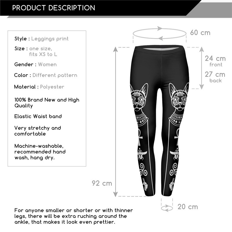 Low Moq High Elasticity Egyptian Cat Symbols Printed Fashion Slim
