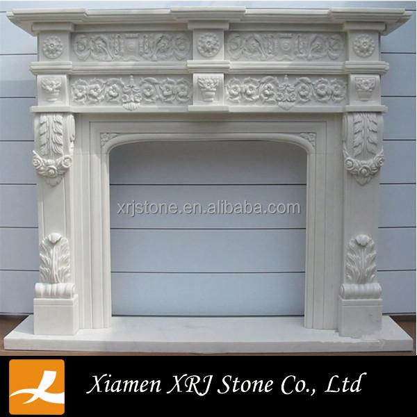 Tallado chimenea de mármol blanco chimenea de mármol azulejos para ...