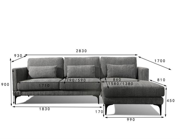 Factory Promotion Simple Design Cheap Modern Contemporary Fabric Sofa Sectional