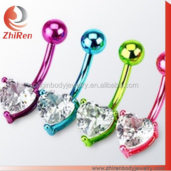 NEON TITANIUM HEART CZ BELLY NAVEL RING PRONG GEM BUTTON PIERCING JEWELRY