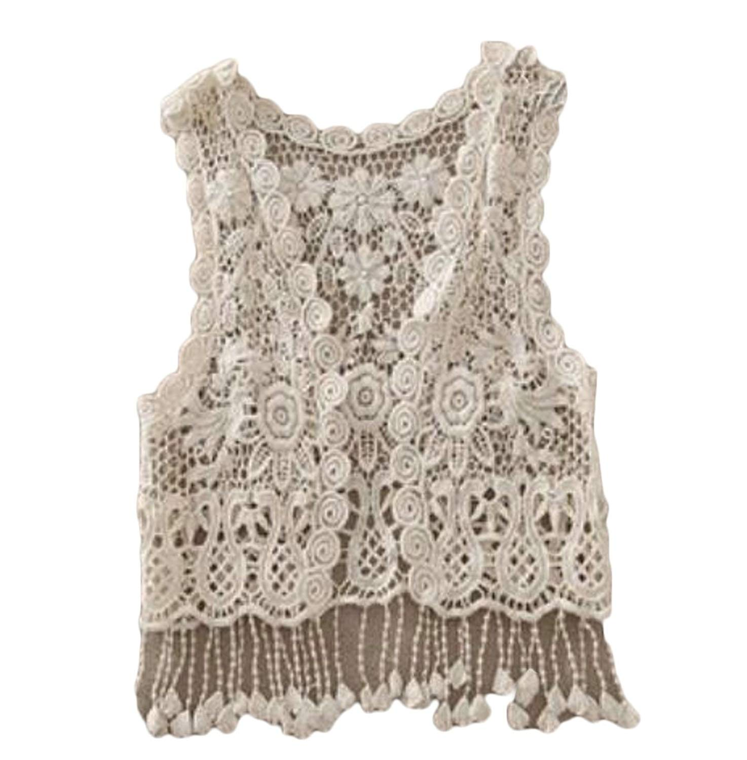 cb19018d46a63c Get Quotations · WSPLYSPJY Women s Sleeveless Shrug Open Front Crochet Cardigan  Vest