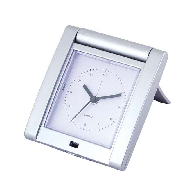 New fashion silver table alarm clock stablilize clock with lid travel alarm clock