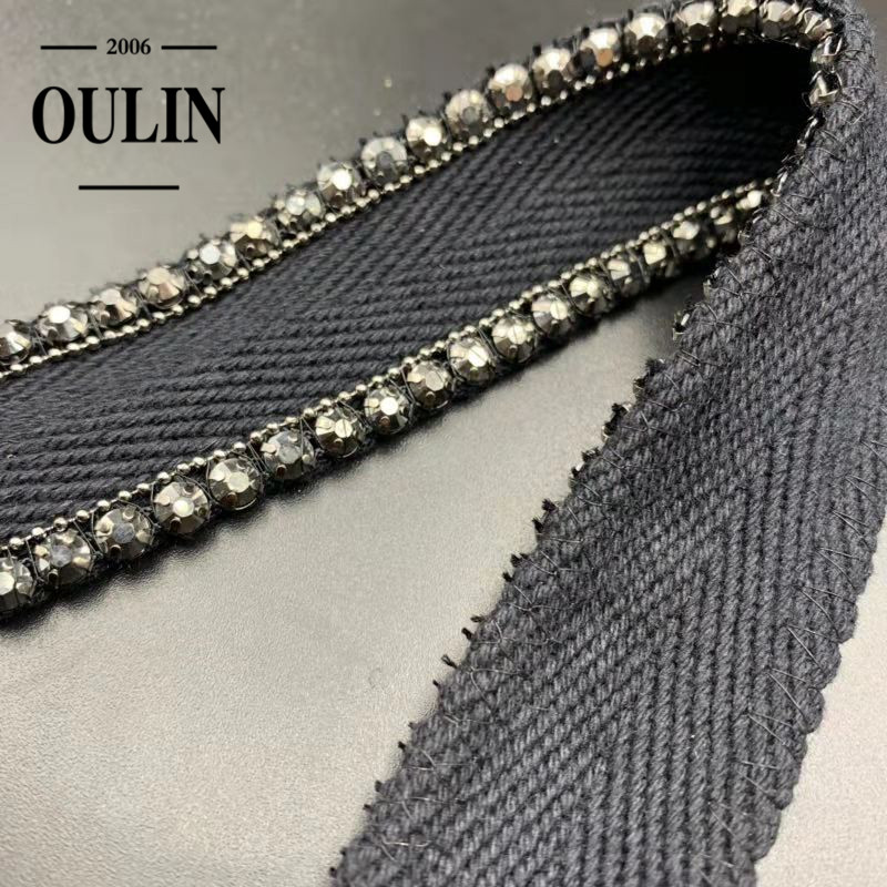 Oulin factory direcct sell cotton tape lace trim rhinestone tape for garment accessories