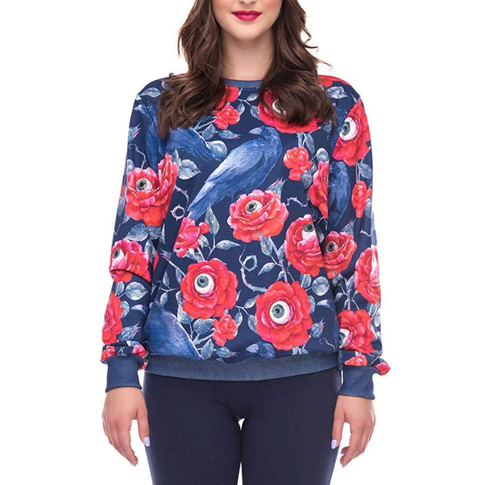 POTO Women Halloween Sweatshirt,Long Sleeve Floral Crow Print Pullover Shirt Jumper Tops Blouse T Shirts