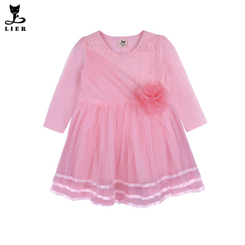 f4d6895b439fe Little Girls Pink Lace Princess Dress Baby Girl Tutu Gauze Party Dresses  for Wedding Children Pageant Flower Dress Kids Clothes