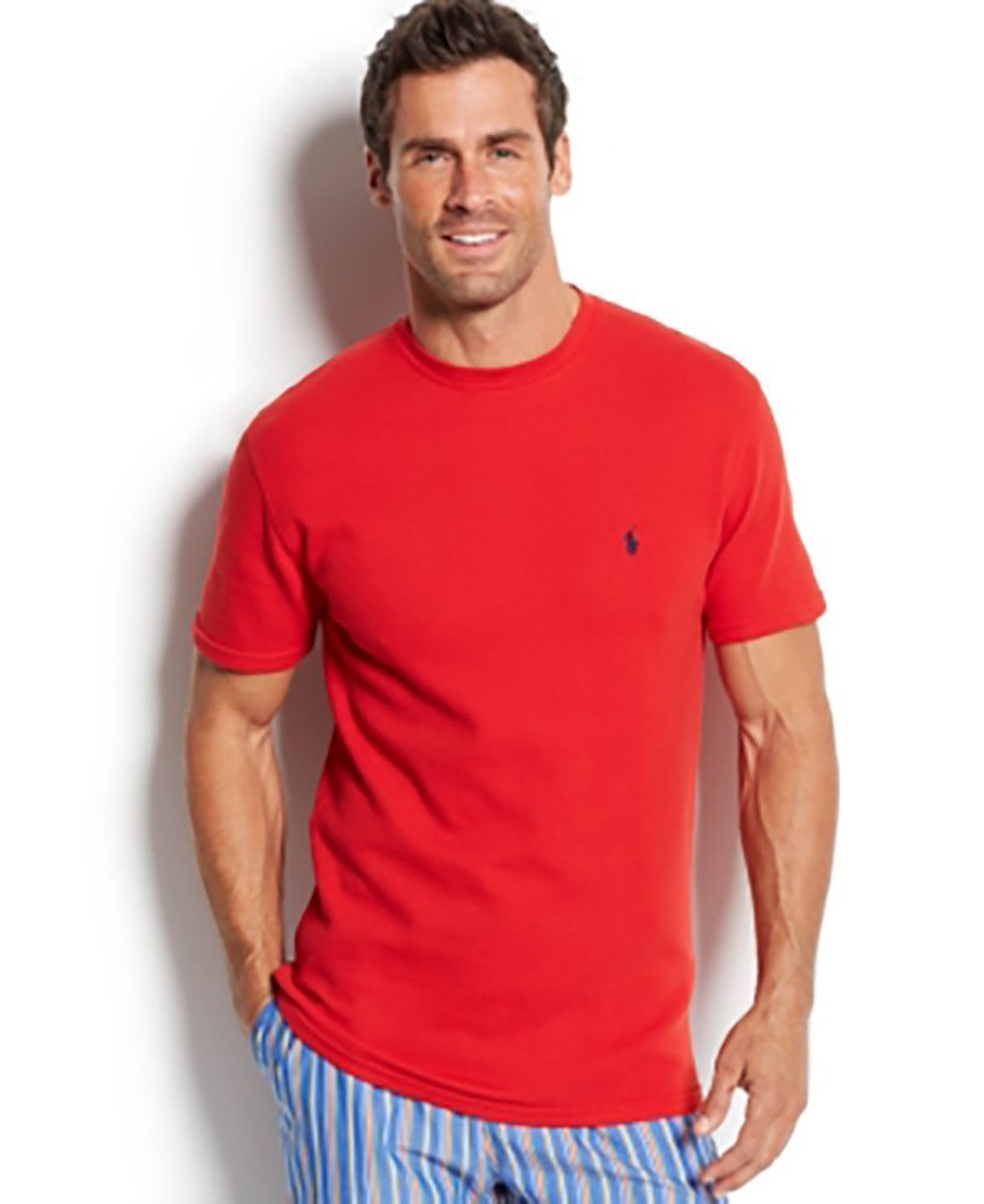 9408dc15 Get Quotations · Polo Ralph Lauren Waffle-Knit Thermal Crew-Neck T-Shirt  Red Large